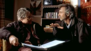WONDER BOYS, Michael Douglas, director Curtis Hanson, on set, 2000. (c)Paramount