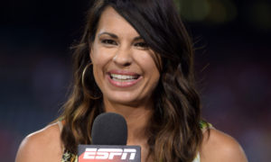 Sep 17, 2014; Anaheim, CA, USA; ESPN reporter Jessica Mendoza during the MLB game between the Seattle Mariners and the Los Angeles Angels at Angel Stadium of Anaheim. Mandatory Credit: Kirby Lee-USA TODAY Sports usp ORG XMIT: USATSI-169850 [Via MerlinFTP Drop]